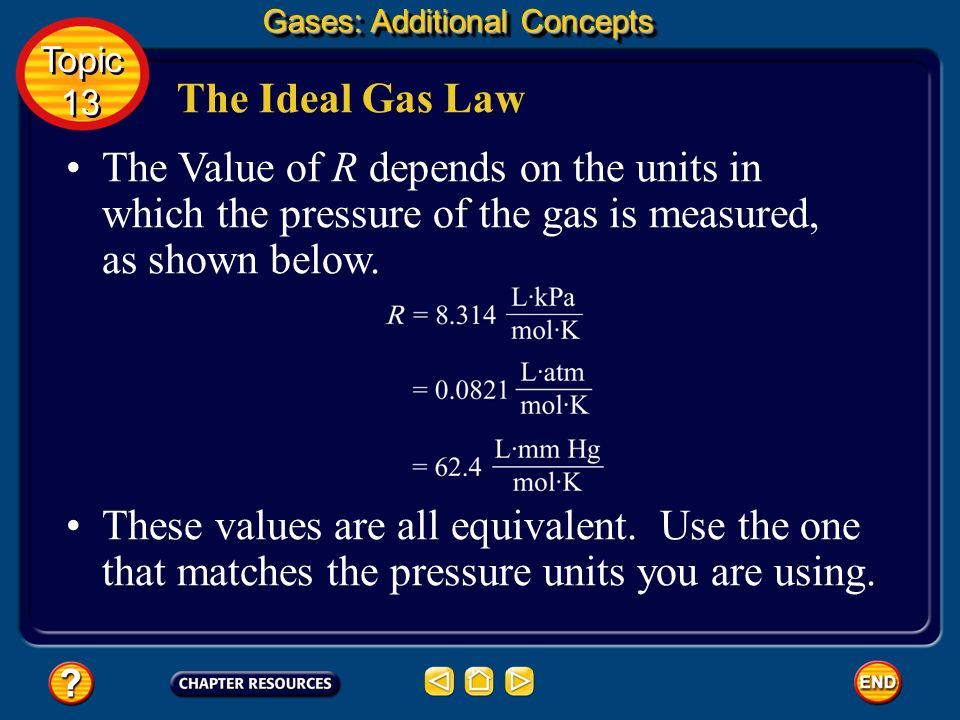 The Ideal Gas Law The constant R does the job of correcting conditions to STP. You do not have to correct STP in a separate step. Gases: Additional Co