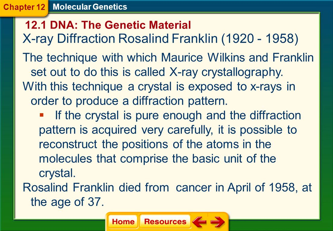 Molecular Genetics X-ray Diffraction Structure Analysis (1951-1952) X-ray diffraction data helped solve the structure of DNA Indicated that DNA was a