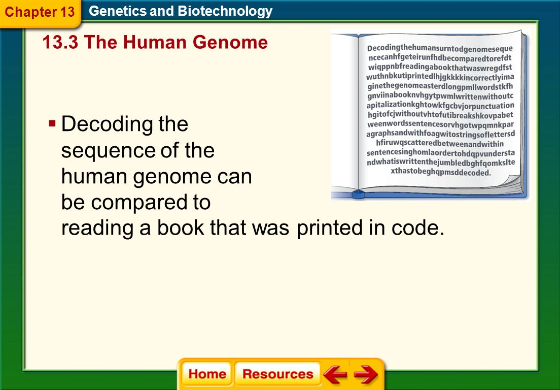 Sequencing the Genome Each of the 46 human chromosomes was cleaved. Genetics and Biotechnology These fragments were combined with vectors to create re