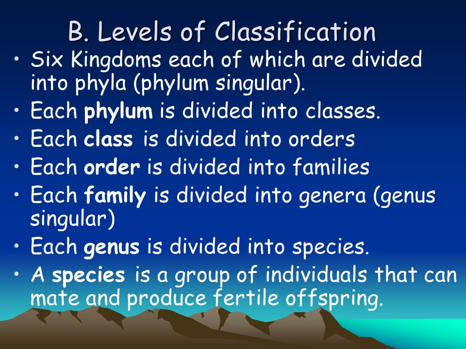 B.Levels of Classification Six Kingdoms each of which are divided into phyla (phylum singular).
