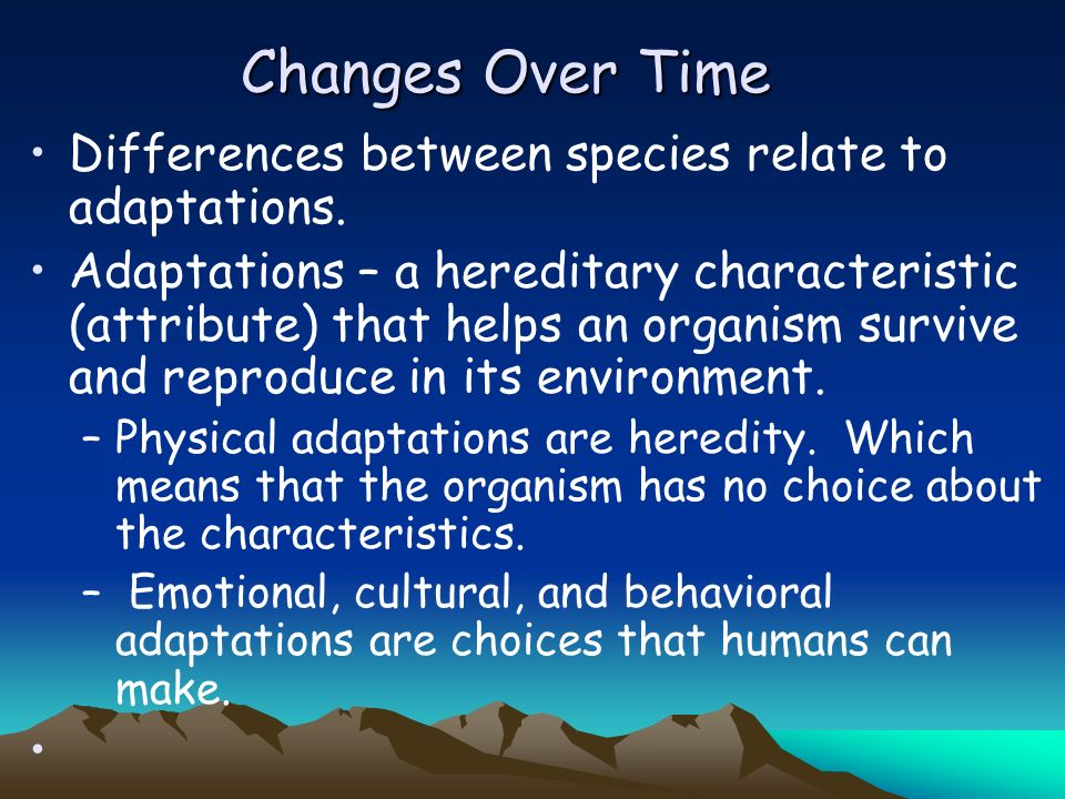 Chapter 8.1 Change Over Time –Differences Among Organisms –Do Species Change Over Time –Evidence of Evolution: The Fossil Record Fossils Reading the F