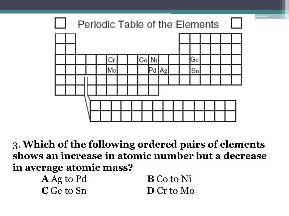 4.In which list are the elements arranged in order of increasing atomic mass.