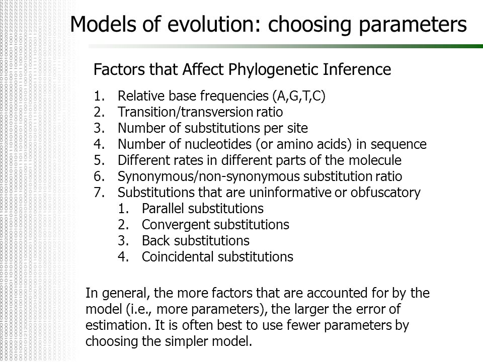 Factors that Affect Phylogenetic Inference 1.Relative base frequencies (A,G,T,C) 2.Transition/transversion ratio 3.Number of substitutions per site 4.