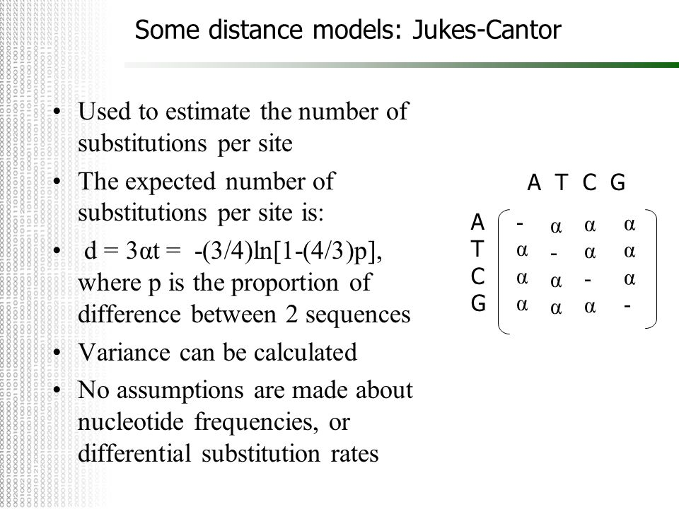 Some distance models: Jukes-Cantor Used to estimate the number of substitutions per site The expected number of substitutions per site is: d = 3αt = -