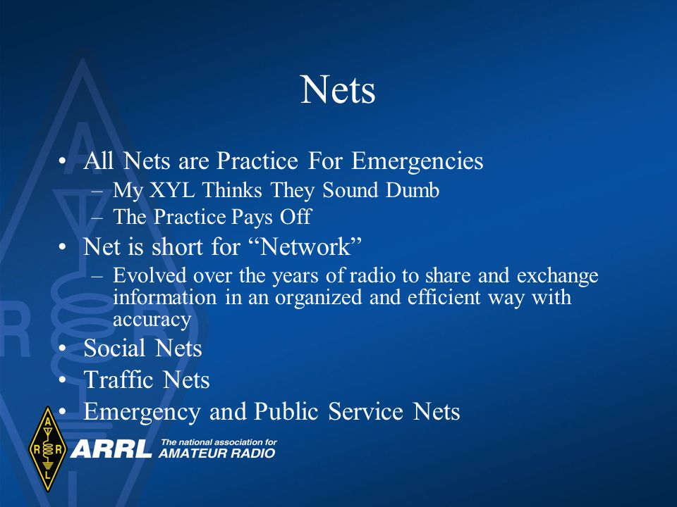 Nets All Nets are Practice For Emergencies –My XYL Thinks They Sound Dumb –The Practice Pays Off Net is short for Network –Evolved over the years of r