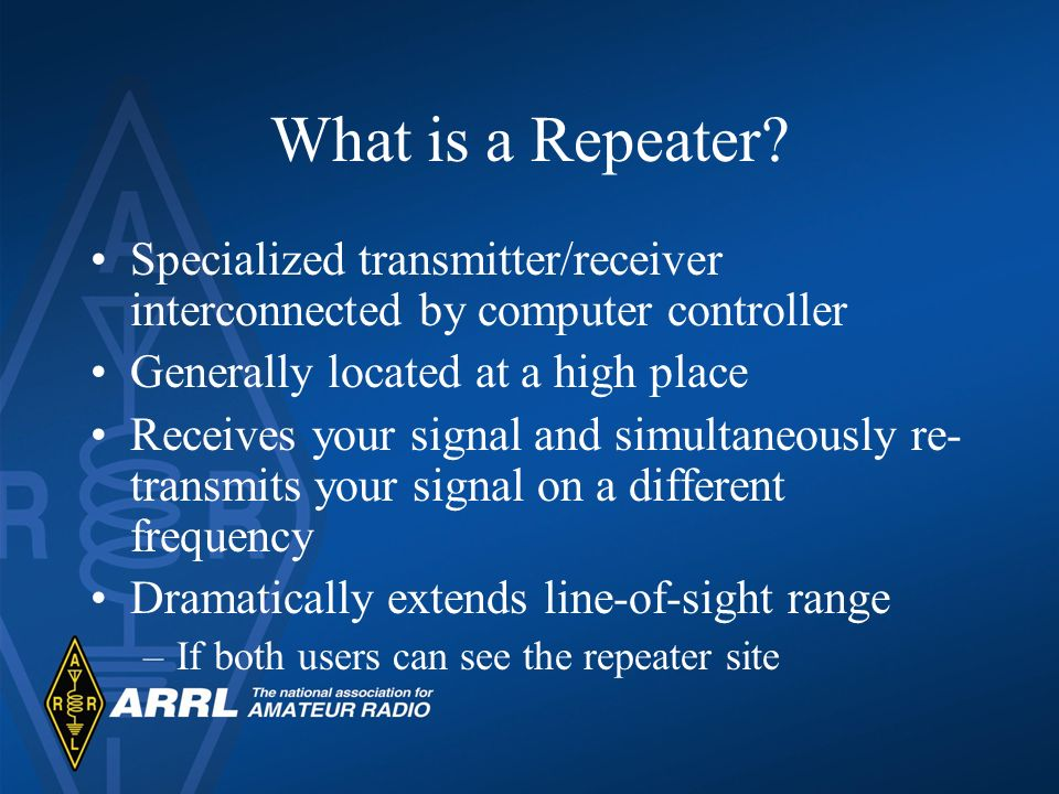 What is a Repeater? Specialized transmitter/receiver interconnected by computer controller Generally located at a high place Receives your signal and