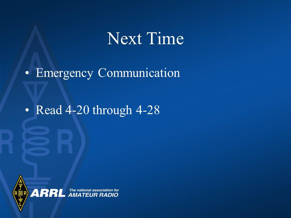 Next Time Emergency Communication Read 4-20 through 4-28