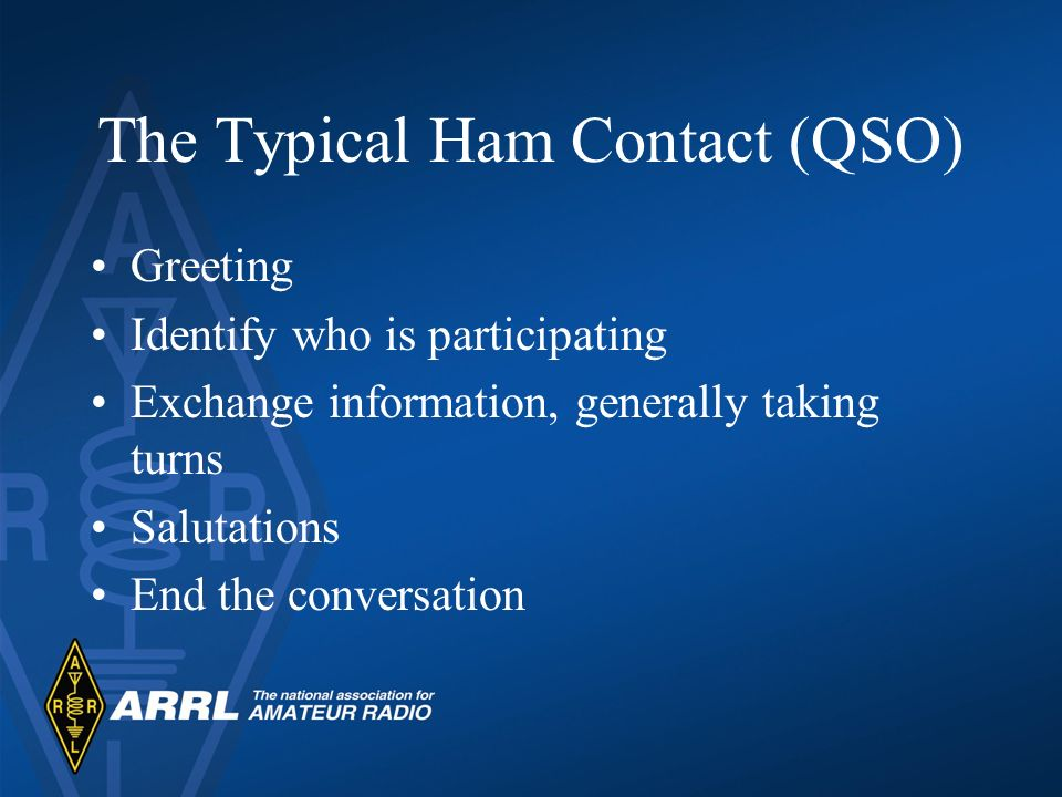 The Typical Ham Contact (QSO) Greeting Identify who is participating Exchange information, generally taking turns Salutations End the conversation