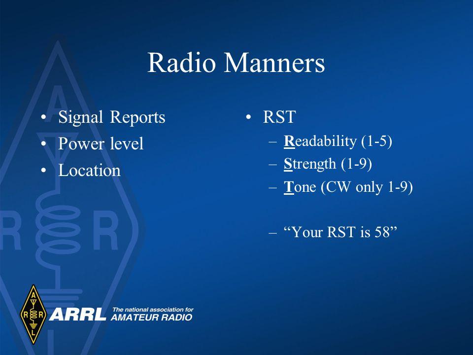 Radio Manners Ham radio is self-regulated –ARRL Official Observers Logging QSLs –Awards Program