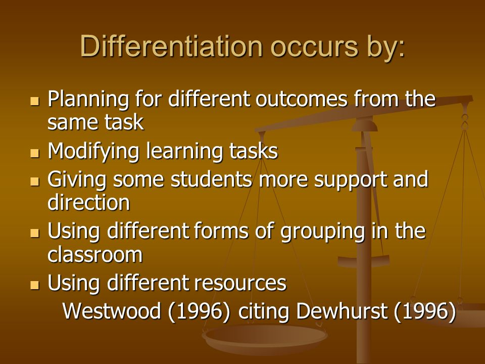 Differentiation occurs by: Planning for different outcomes from the same task Planning for different outcomes from the same task Modifying learning ta
