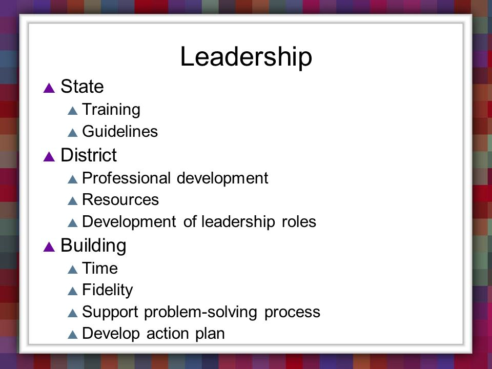 Leadership State Training Guidelines District Professional development Resources Development of leadership roles Building Time Fidelity Support proble
