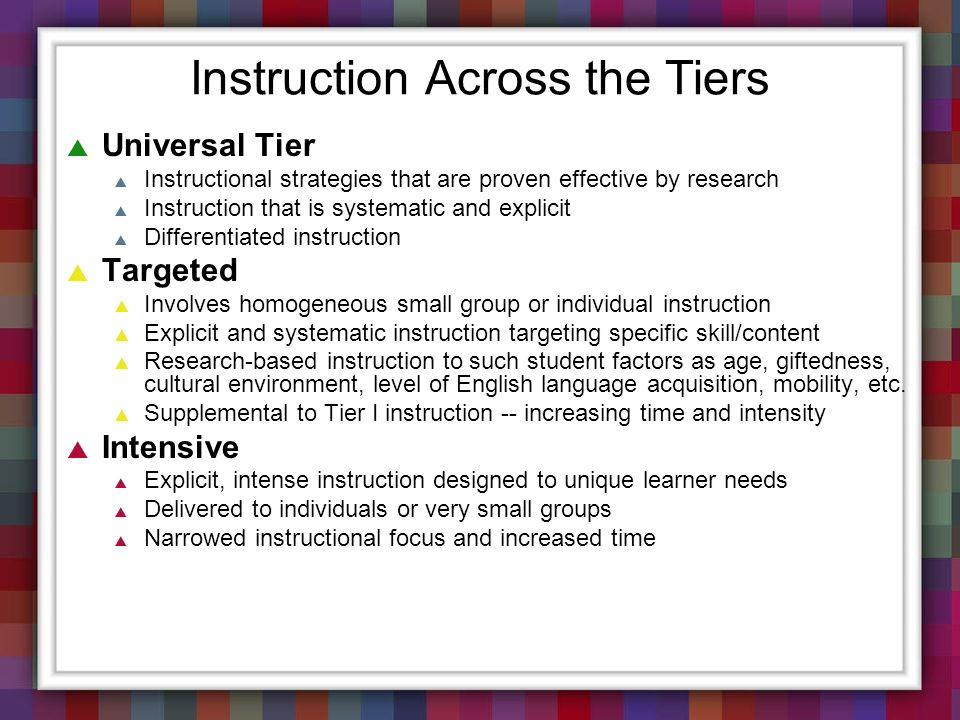 Instruction Across the Tiers Universal Tier Instructional strategies that are proven effective by research Instruction that is systematic and explicit
