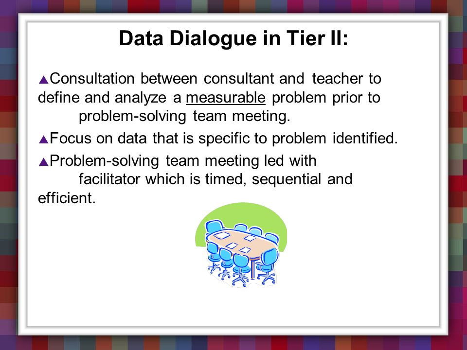 Data Dialogue in Tier II: Consultation between consultant and teacher to define and analyze a measurable problem prior to problem-solving team meeting