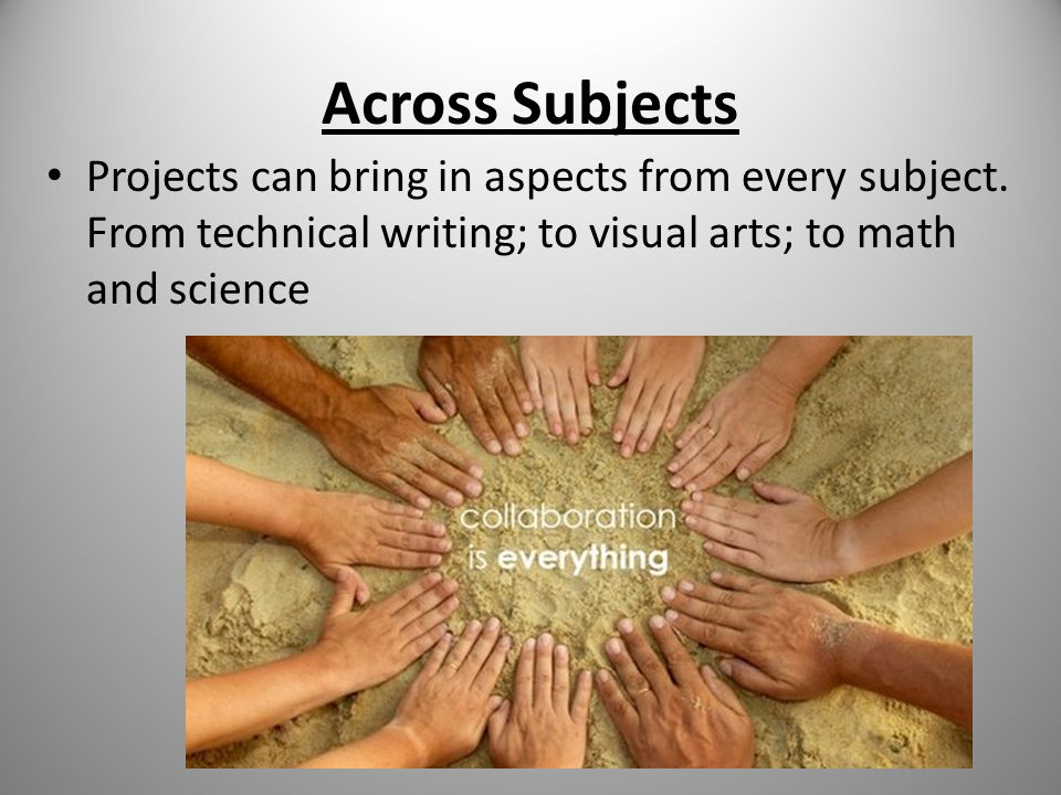 Across Subjects Projects can bring in aspects from every subject. From technical writing; to visual arts; to math and science
