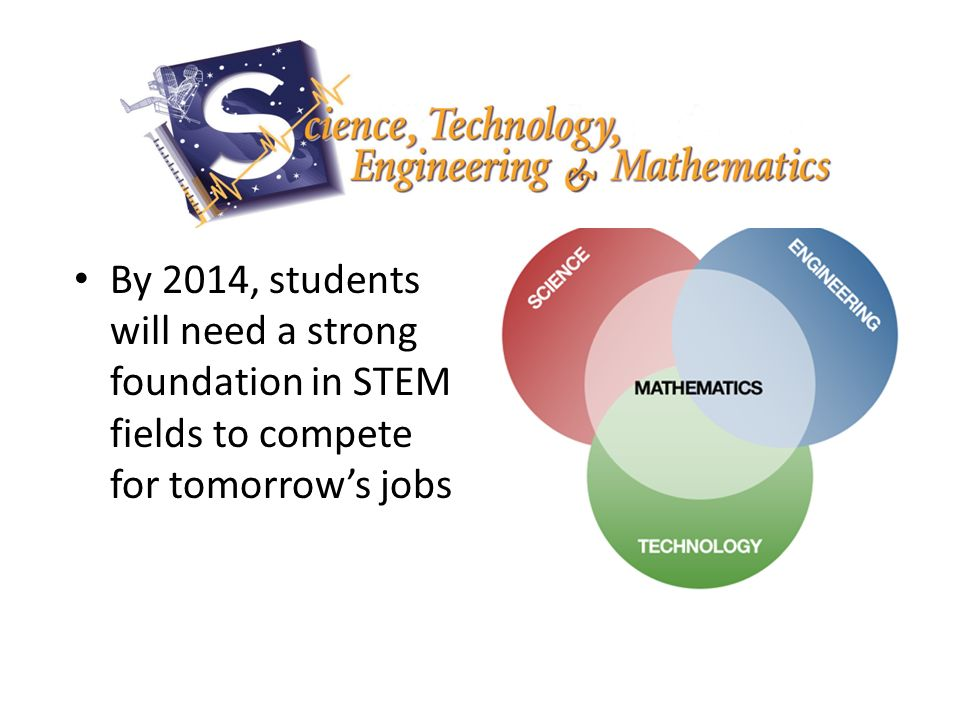 By 2014, students will need a strong foundation in STEM fields to compete for tomorrows jobs
