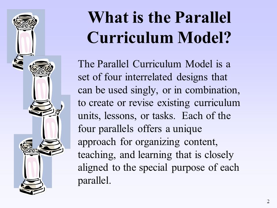 2 What is the Parallel Curriculum Model? The Parallel Curriculum Model is a set of four interrelated designs that can be used singly, or in combinatio