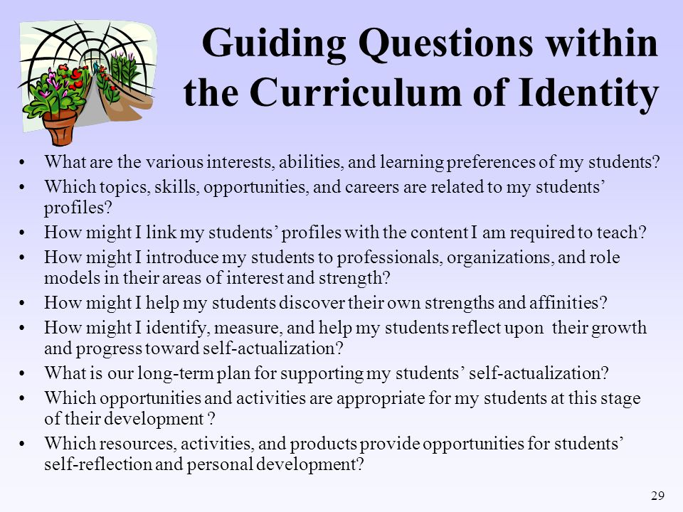 29 Guiding Questions within the Curriculum of Identity What are the various interests, abilities, and learning preferences of my students? Which topic