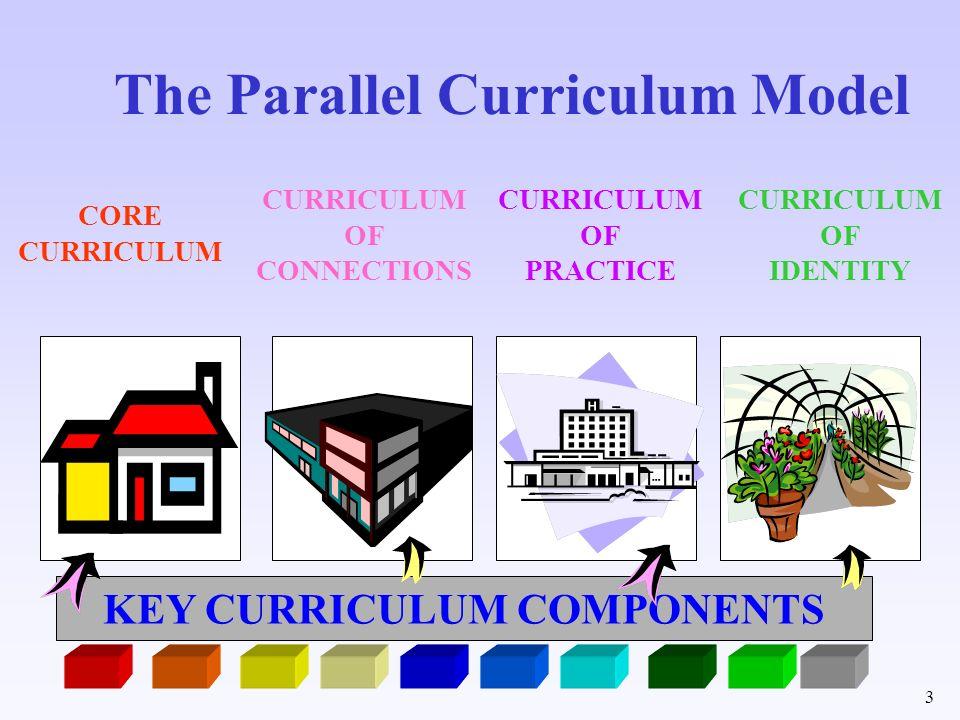 3 The Parallel Curriculum Model CURRICULUM OF CONNECTIONS CURRICULUM OF PRACTICE CURRICULUM OF IDENTITY KEY CURRICULUM COMPONENTS CORE CURRICULUM