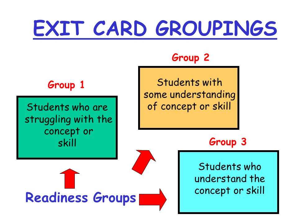 Students who are struggling with the concept or skill Students with some understanding of concept or skill Students who understand the concept or skil