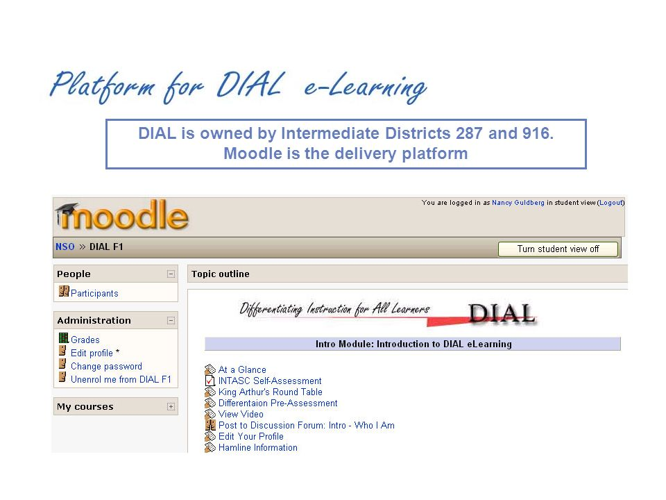 DIAL is owned by Intermediate Districts 287 and 916. Moodle is the delivery platform