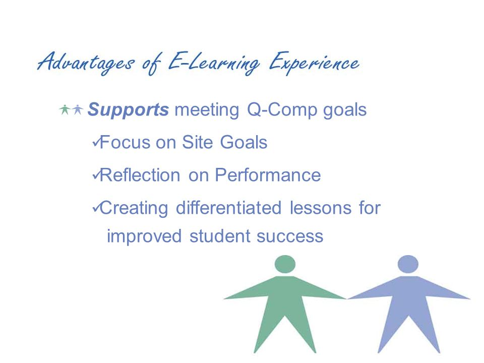 Supports meeting Q-Comp goals Focus on Site Goals Reflection on Performance Creating differentiated lessons for improved student success
