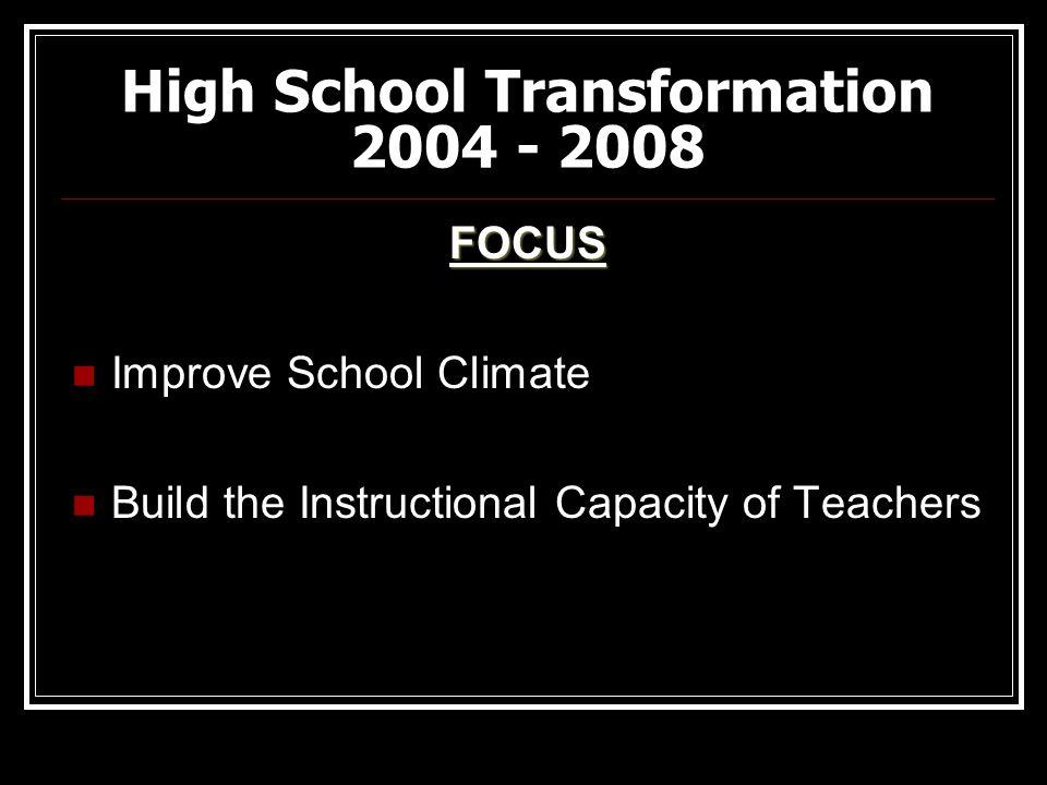 High School Transformation 2004 - 2008 FOCUS Improve School Climate Build the Instructional Capacity of Teachers
