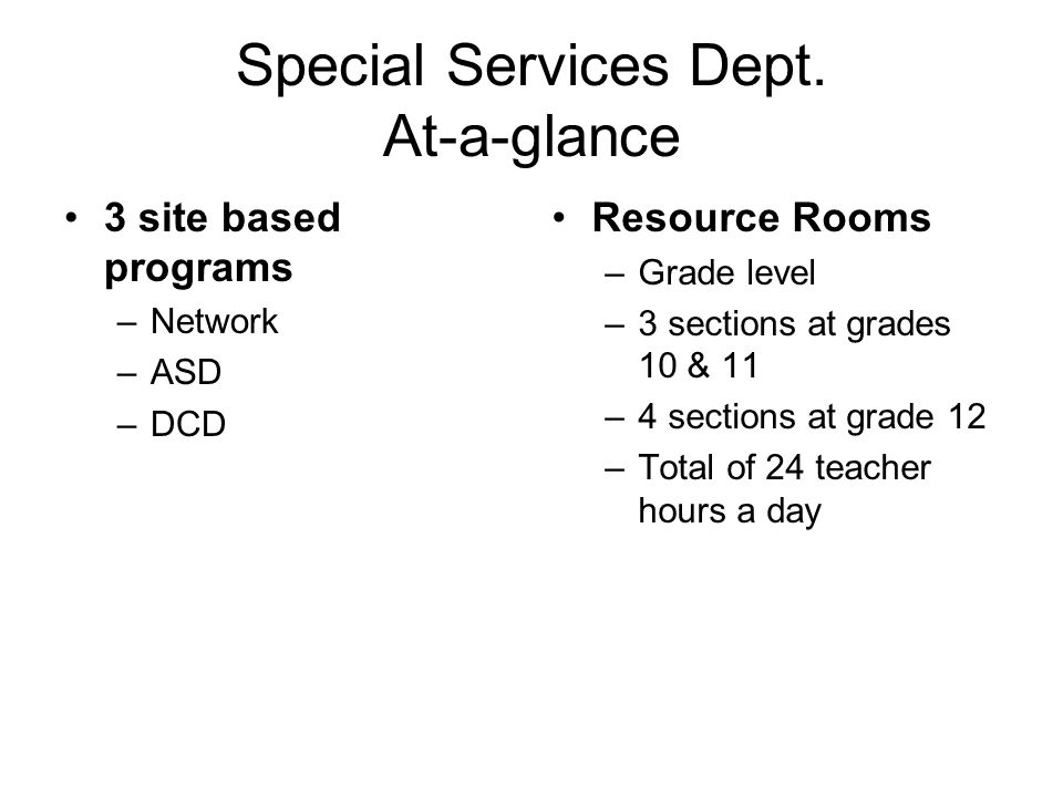 Special Services Dept.