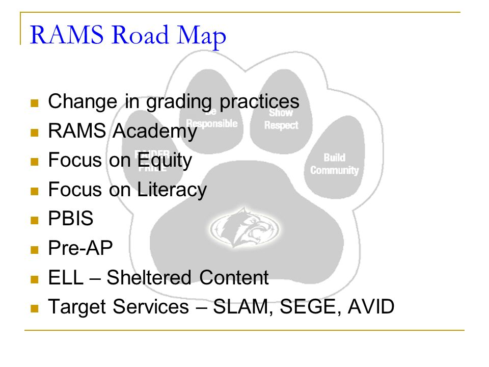 RAMS Road Map Change in grading practices RAMS Academy Focus on Equity Focus on Literacy PBIS Pre-AP ELL – Sheltered Content Target Services – SLAM, SEGE, AVID