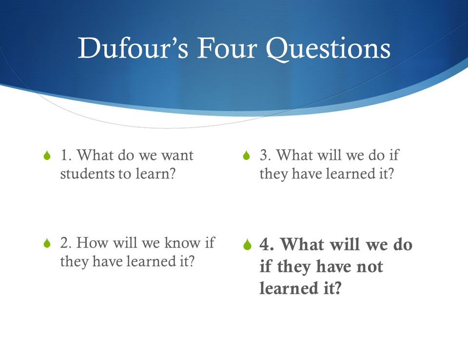 Dufours Four Questions 3. What will we do if they have learned it? 4. What will we do if they have not learned it? 1. What do we want students to lear