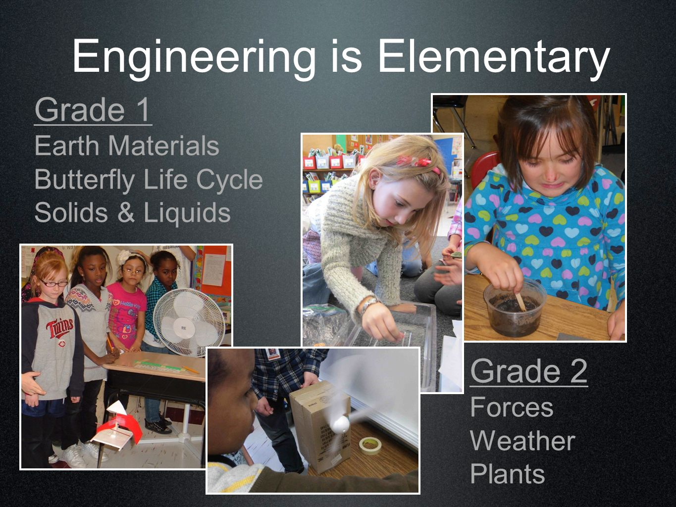 Engineering is Elementary Grade 1 Earth Materials Butterfly Life Cycle Solids & Liquids Grade 2 Forces Weather Plants