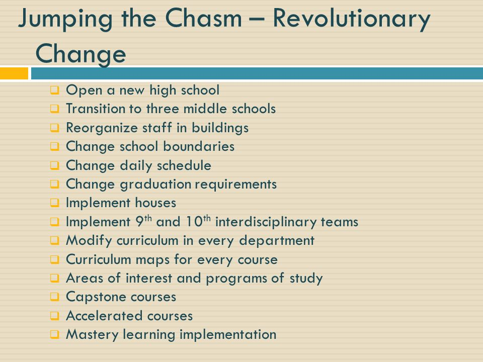 Jumping the Chasm – Revolutionary Change Open a new high school Transition to three middle schools Reorganize staff in buildings Change school boundaries Change daily schedule Change graduation requirements Implement houses Implement 9 th and 10 th interdisciplinary teams Modify curriculum in every department Curriculum maps for every course Areas of interest and programs of study Capstone courses Accelerated courses Mastery learning implementation
