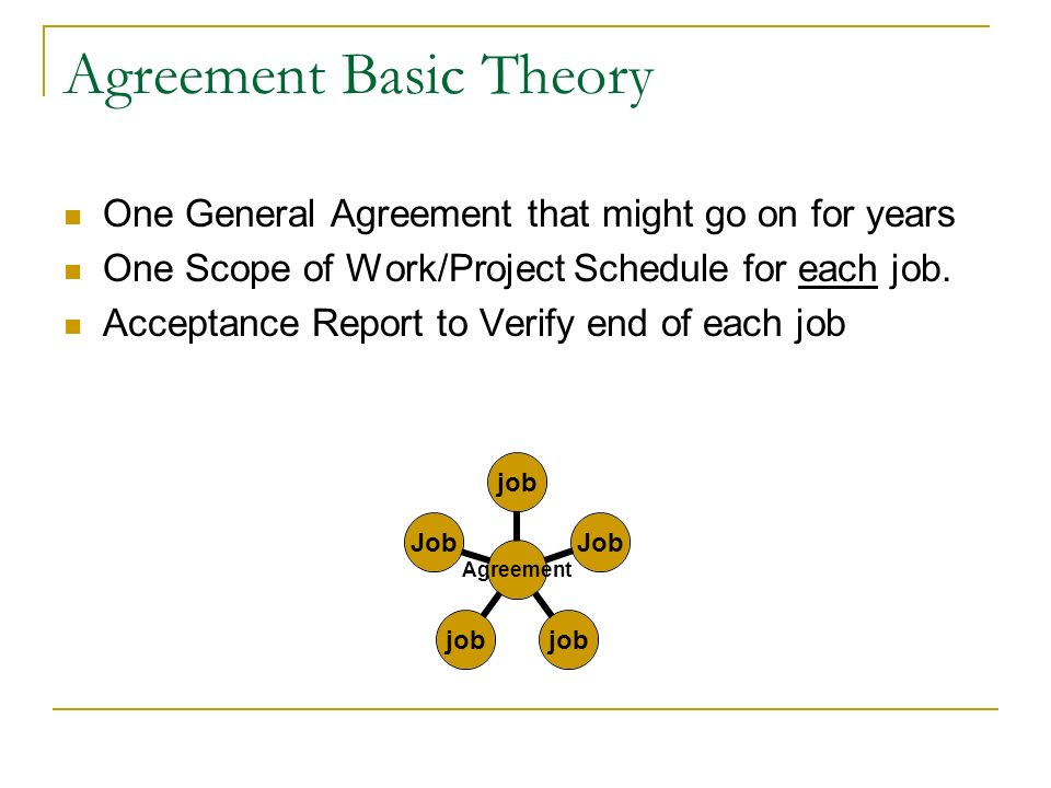Agreement Basic Theory One General Agreement that might go on for years One Scope of Work/Project Schedule for each job.