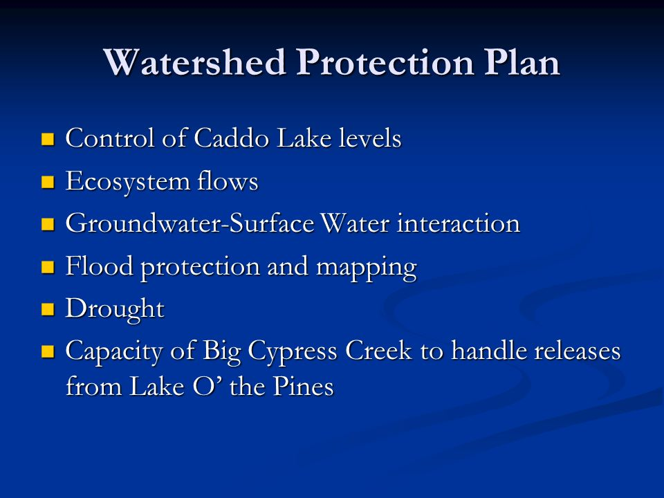 Watershed Protection Plan Control of Caddo Lake levels Control of Caddo Lake levels Ecosystem flows Ecosystem flows Groundwater-Surface Water interaction Groundwater-Surface Water interaction Flood protection and mapping Flood protection and mapping Drought Drought Capacity of Big Cypress Creek to handle releases from Lake O the Pines Capacity of Big Cypress Creek to handle releases from Lake O the Pines