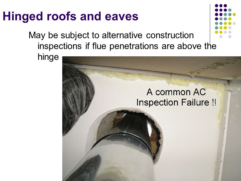 111 Hinged roofs and eaves May be subject to alternative construction inspections if flue penetrations are above the hinge