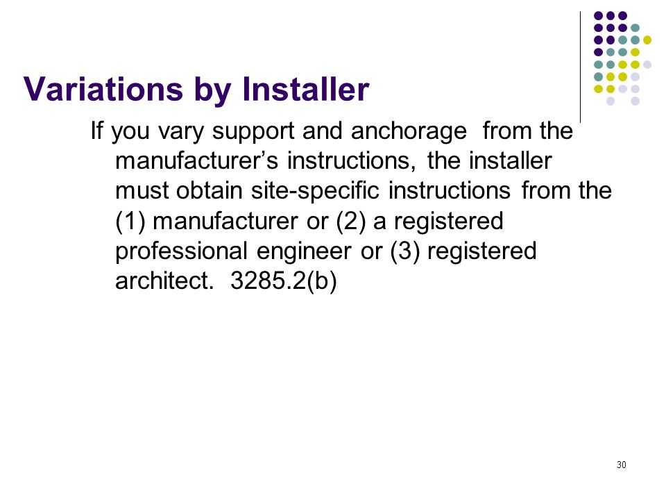30 Variations by Installer If you vary support and anchorage from the manufacturers instructions, the installer must obtain site-specific instructions