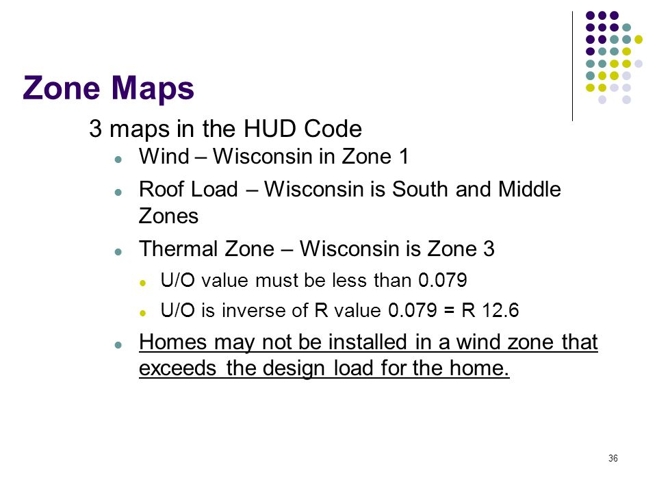 36 Zone Maps 3 maps in the HUD Code Wind – Wisconsin in Zone 1 Roof Load – Wisconsin is South and Middle Zones Thermal Zone – Wisconsin is Zone 3 U/O