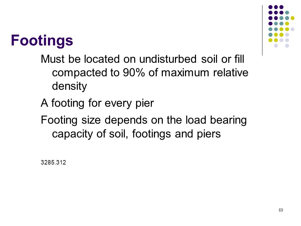 69 Footings Must be located on undisturbed soil or fill compacted to 90% of maximum relative density A footing for every pier Footing size depends on