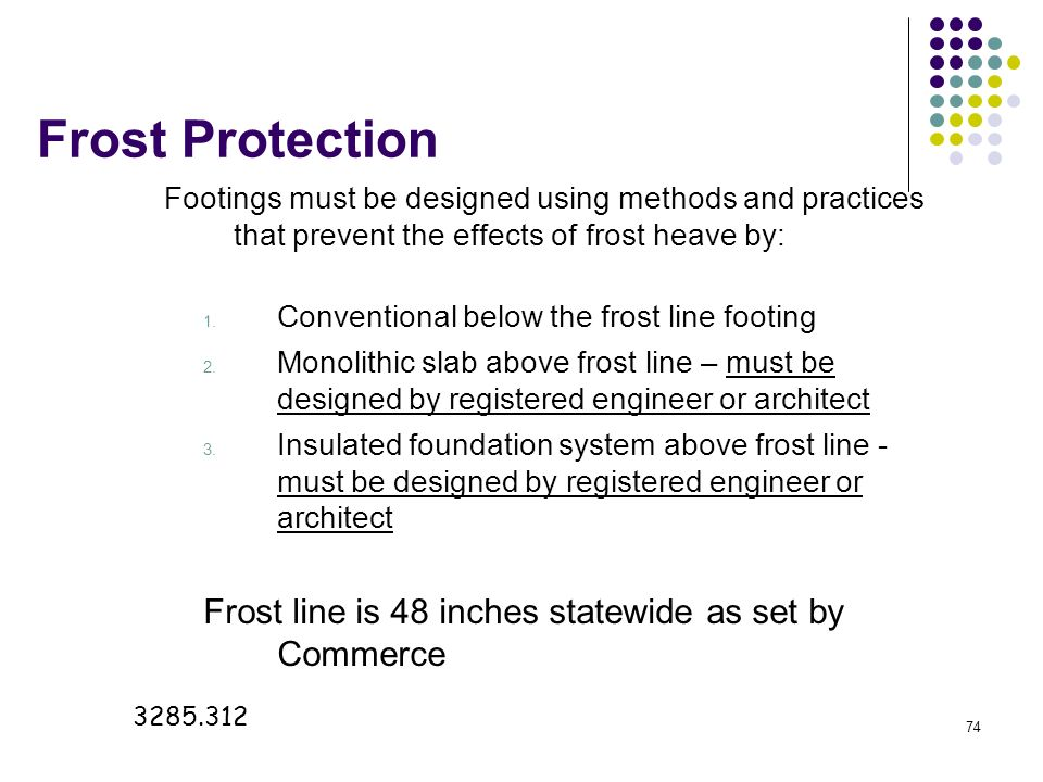74 Frost Protection Footings must be designed using methods and practices that prevent the effects of frost heave by: 1. Conventional below the frost