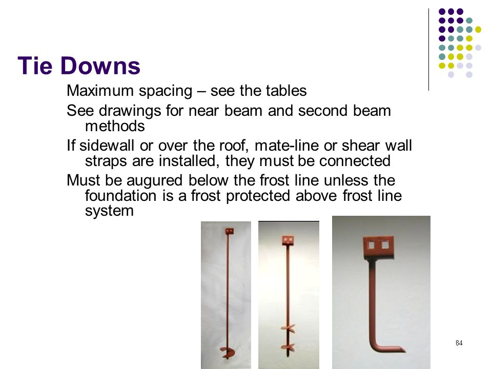 84 Tie Downs Maximum spacing – see the tables See drawings for near beam and second beam methods If sidewall or over the roof, mate-line or shear wall
