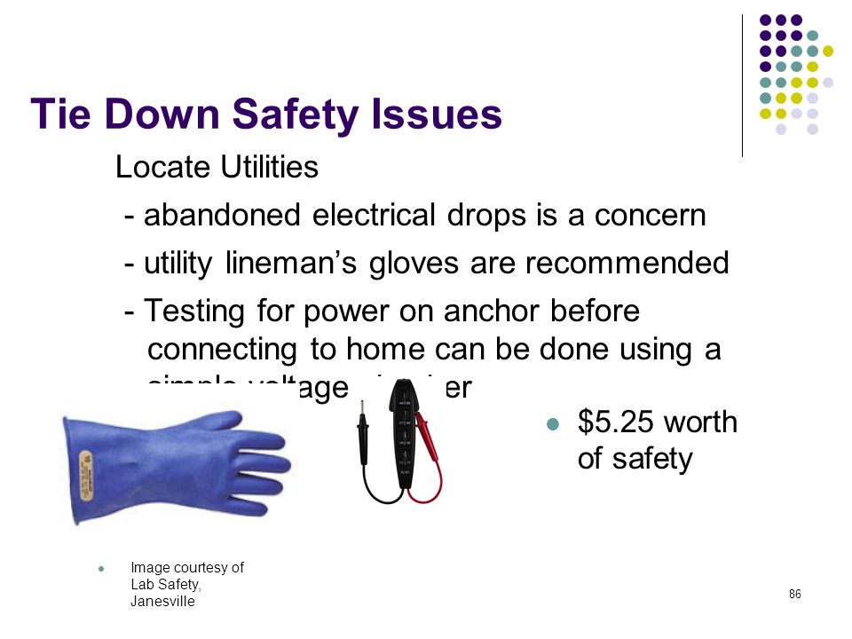 86 Tie Down Safety Issues Locate Utilities - abandoned electrical drops is a concern - utility linemans gloves are recommended - Testing for power on