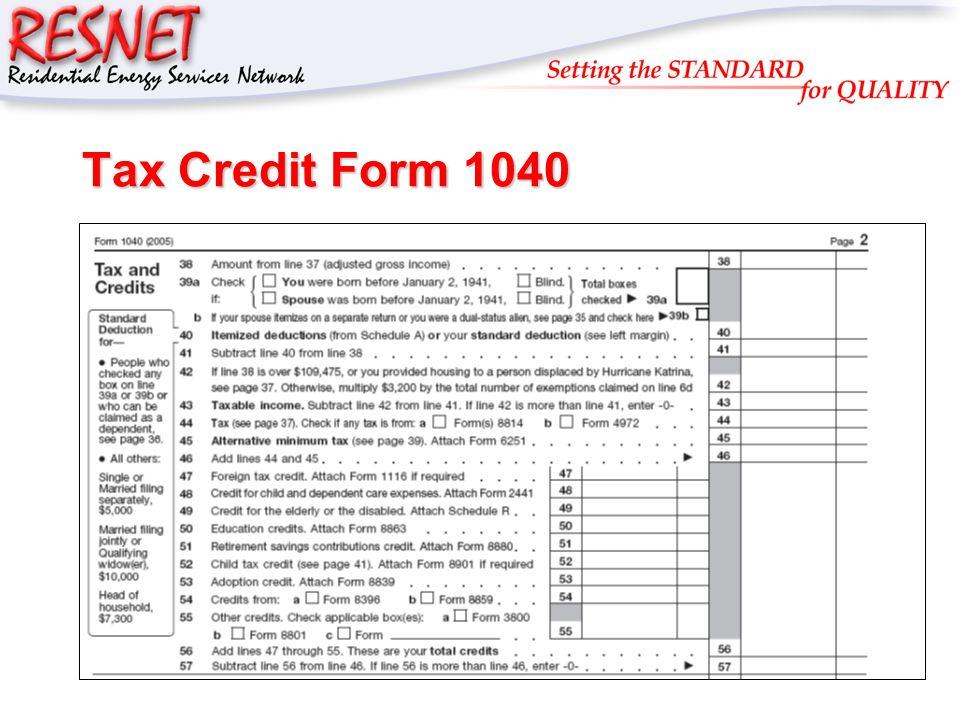 RESNET Tax Credit Form 1040
