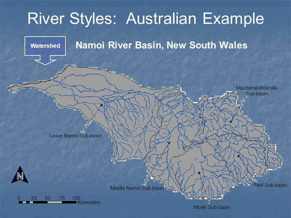 River Styles: Australian Example Watershed Namoi River Basin, New South Wales Kilometers 0 100 50 7525 Lower Namoi Sub-basin Middle Namoi Sub-basin Mo