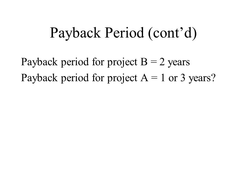 Payback Period (contd) Payback period for project B = 2 years Payback period for project A = 1 or 3 years