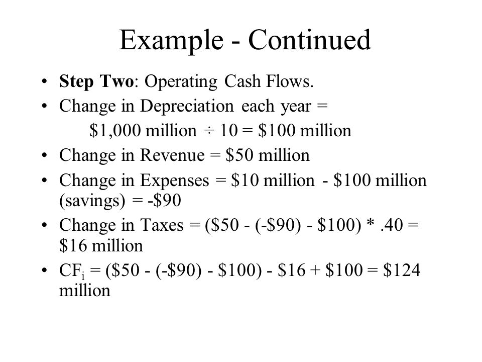 Example - Continued Step Two: Operating Cash Flows.