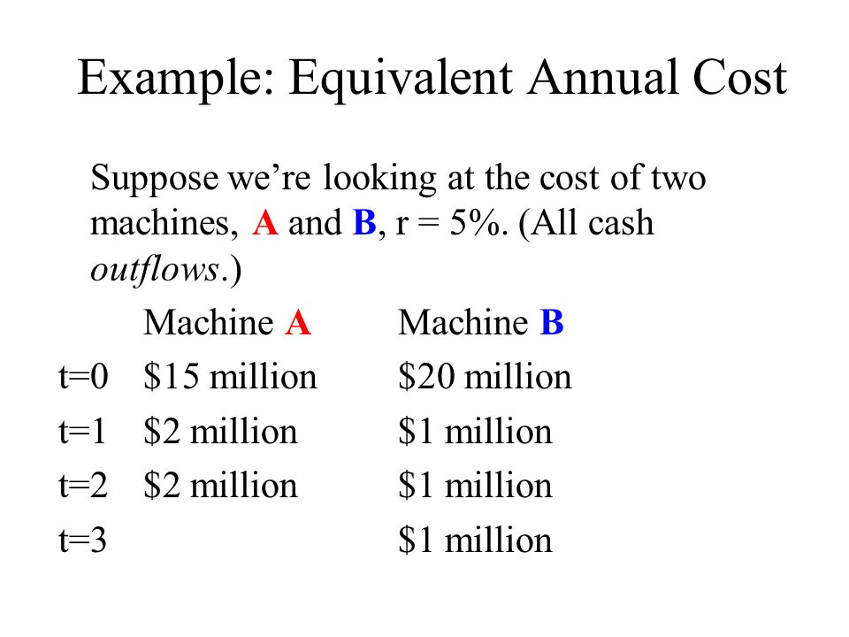 Example: Equivalent Annual Cost Suppose were looking at the cost of two machines, A and B, r = 5%.