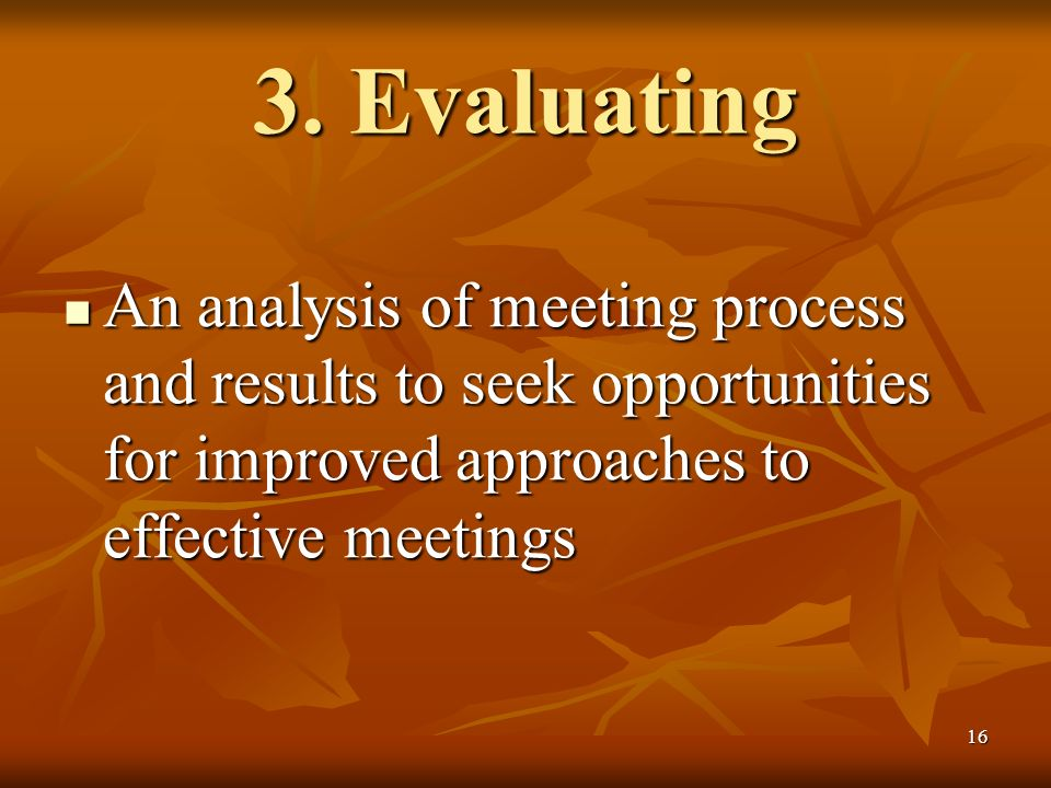 16 3. Evaluating An analysis of meeting process and results to seek opportunities for improved approaches to effective meetings An analysis of meeting