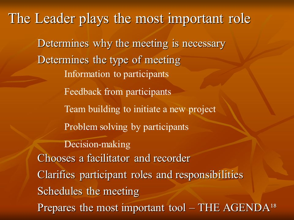 18 Determines why the meeting is necessary Determines the type of meeting Chooses a facilitator and recorder Clarifies participant roles and responsibilities Schedules the meeting Prepares the most important tool – THE AGENDA The Leader plays the most important role Information to participants Feedback from participants Team building to initiate a new project Problem solving by participants Decision-making