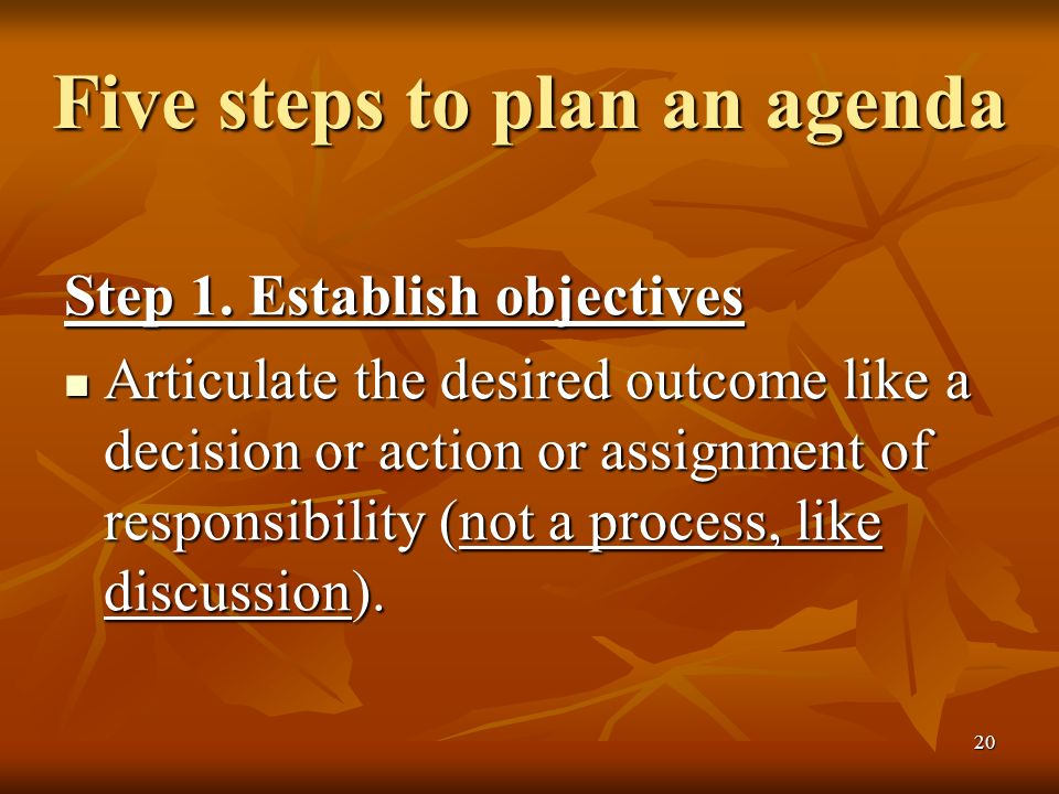 20 Five steps to plan an agenda Step 1.