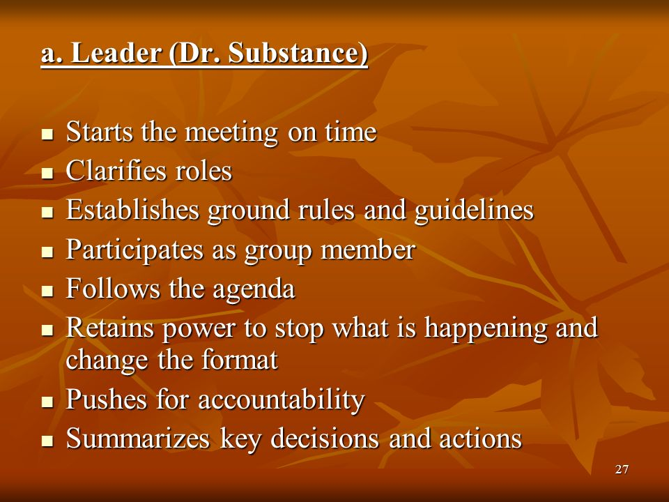 27 a. Leader (Dr. Substance) Starts the meeting on time Starts the meeting on time Clarifies roles Clarifies roles Establishes ground rules and guidel