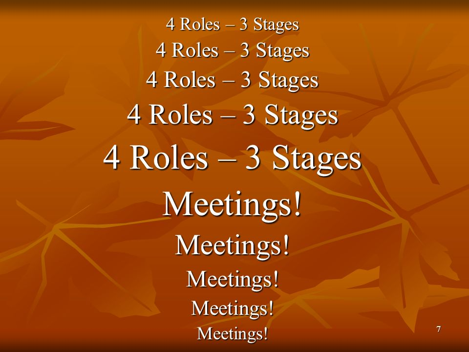 7 4 Roles – 3 Stages Meetings!Meetings!Meetings!Meetings!Meetings!